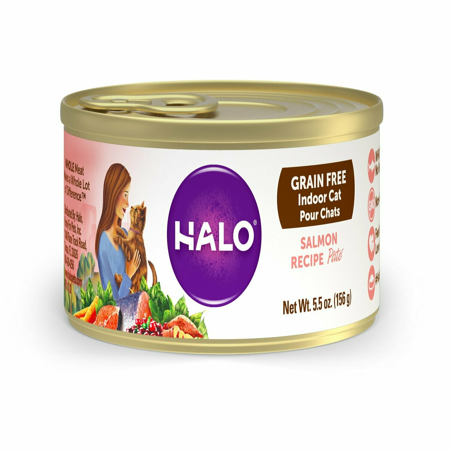 Halo grain free indoor cats salmon recipe pate 5.5 ounce 12 count (12/19)