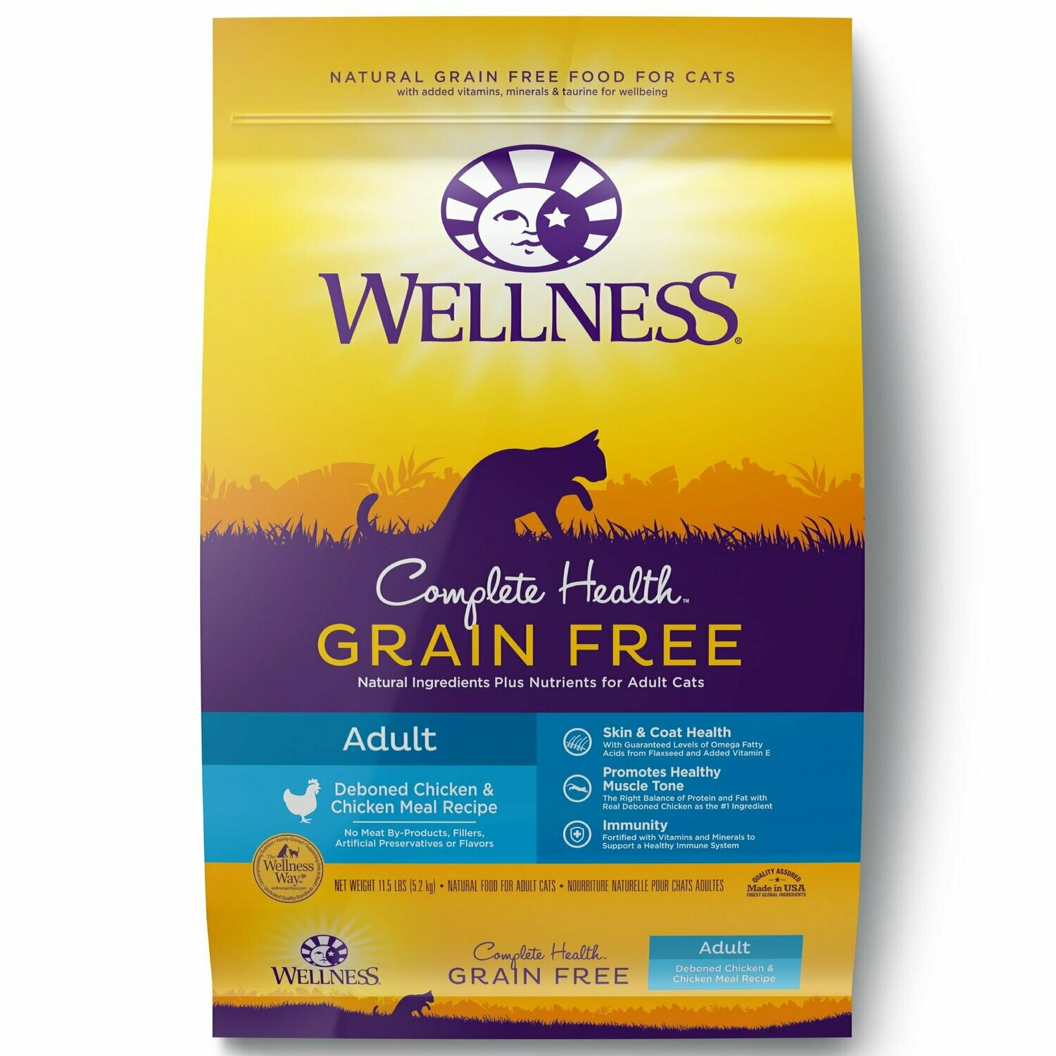 Wellness grain-free food for cats deboned chicken and chicken meal recipe adult cats 11.5 pounds (4/20)