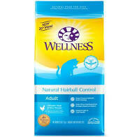 Wellness natural hairball control adult cat food chicken meal and rice recipe 6 pounds (4/20)