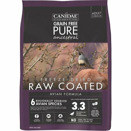 Canidae grain free pure ancestral real freeze-dried raw coated AVIAN formula adult dog food 4-pound bag