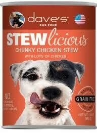 **BOGO** Dave's dog food stew delicious chunky chicken stew with lots of chicken no corn wheat soy artificial colors or flavors naturally healthy grain-free 13 ounces 12 count (12/18)
