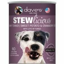 **BOGO** Dave's dog food stew delicious chunky turkey sweet potatoes and cranberries no corn wheat soy artificial colors or flavors naturally healthy grain-free 13 ounce 12 counts (12/18)