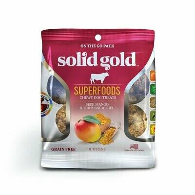 10 FUR $1.00 SOLID GOLD Superfoods Beef, Mango & Tumeric Recipe Grain-Free Dog Treats 2 oz (2/19)