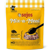 Sojo's mix a meal freeze-dried raw beef protein 8 ounces natural dog food (12/19)