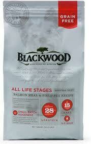 Blackwood grain free slow cooked pet nutrition special diet salmon meal and field pea recipe 28% protein 15% fat 5 pound for dogs (12/19)