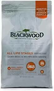 Blackwood sensitive skin and stomach formula all life stages special diet lamb meal and brown rice recipe 5 pounds for dogs