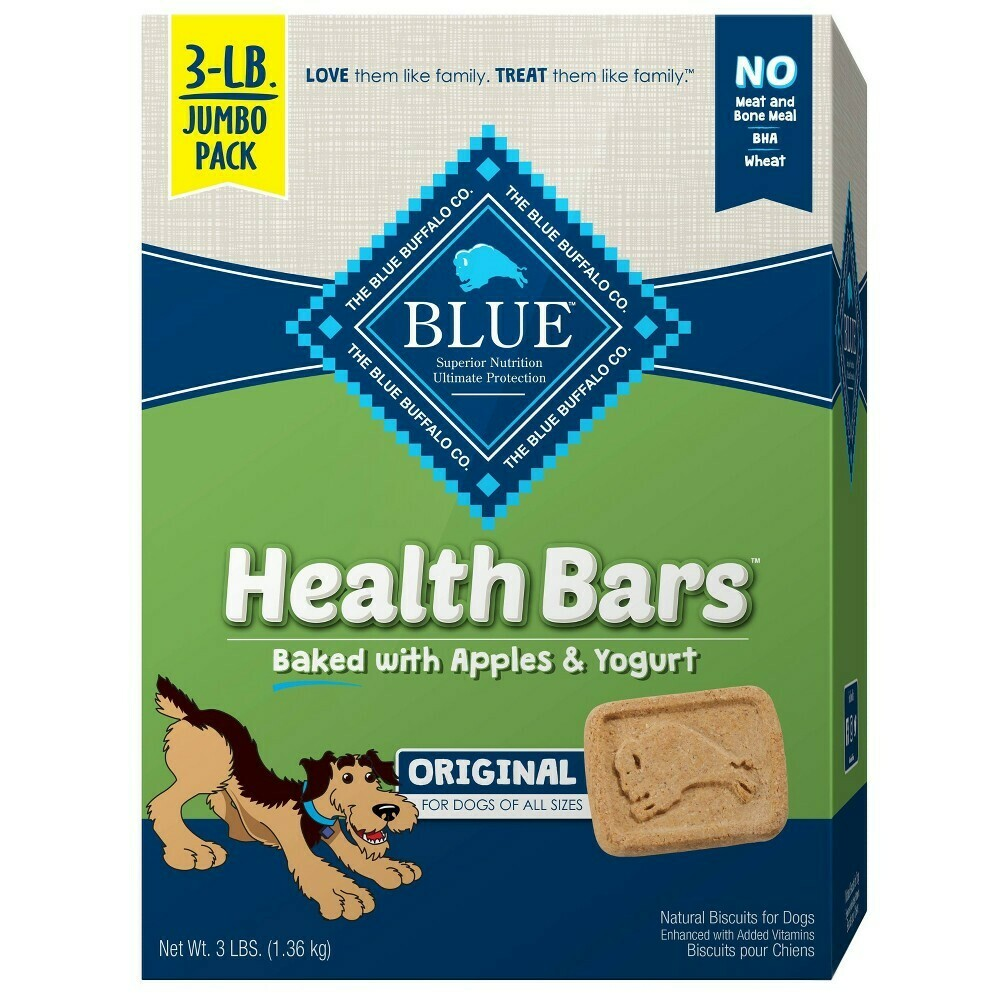 Blue Buffalo health bars baked with apples and yogurt 3 pound jumbo pack for dogs (10/19)