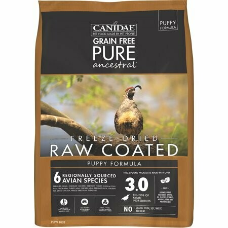 Canidae  real freeze-dried raw coated puppy formula quail deboned chicken deboned turkey and a variety of other items no grains corn soy wheat or red meat 4 pounds freeze-dried raw coded