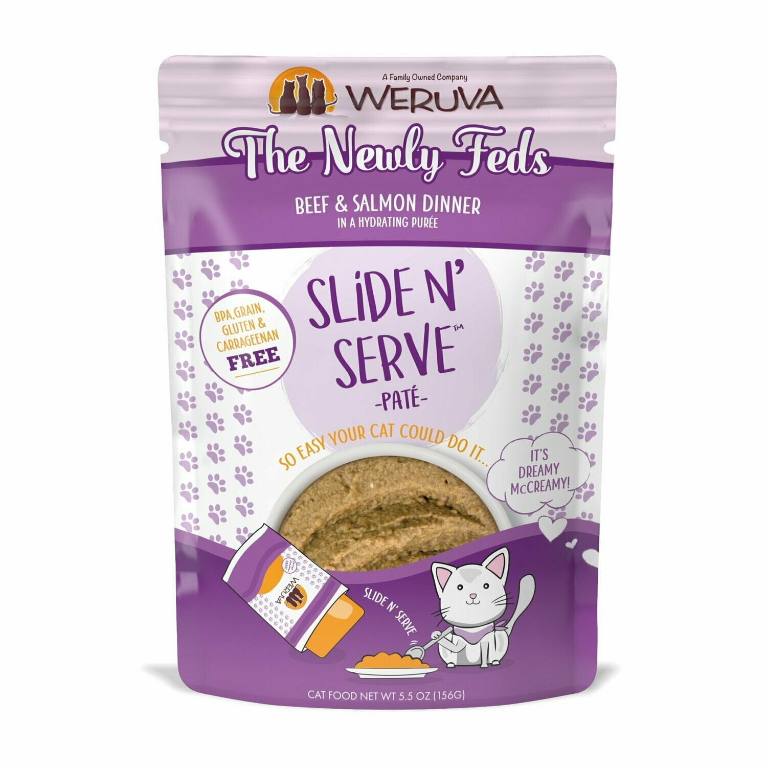 WERUVA BPA grain gluten and carageen free slide and serve pate beef and salmon dinner 12 pouches 5.5 ounces  (3/20)