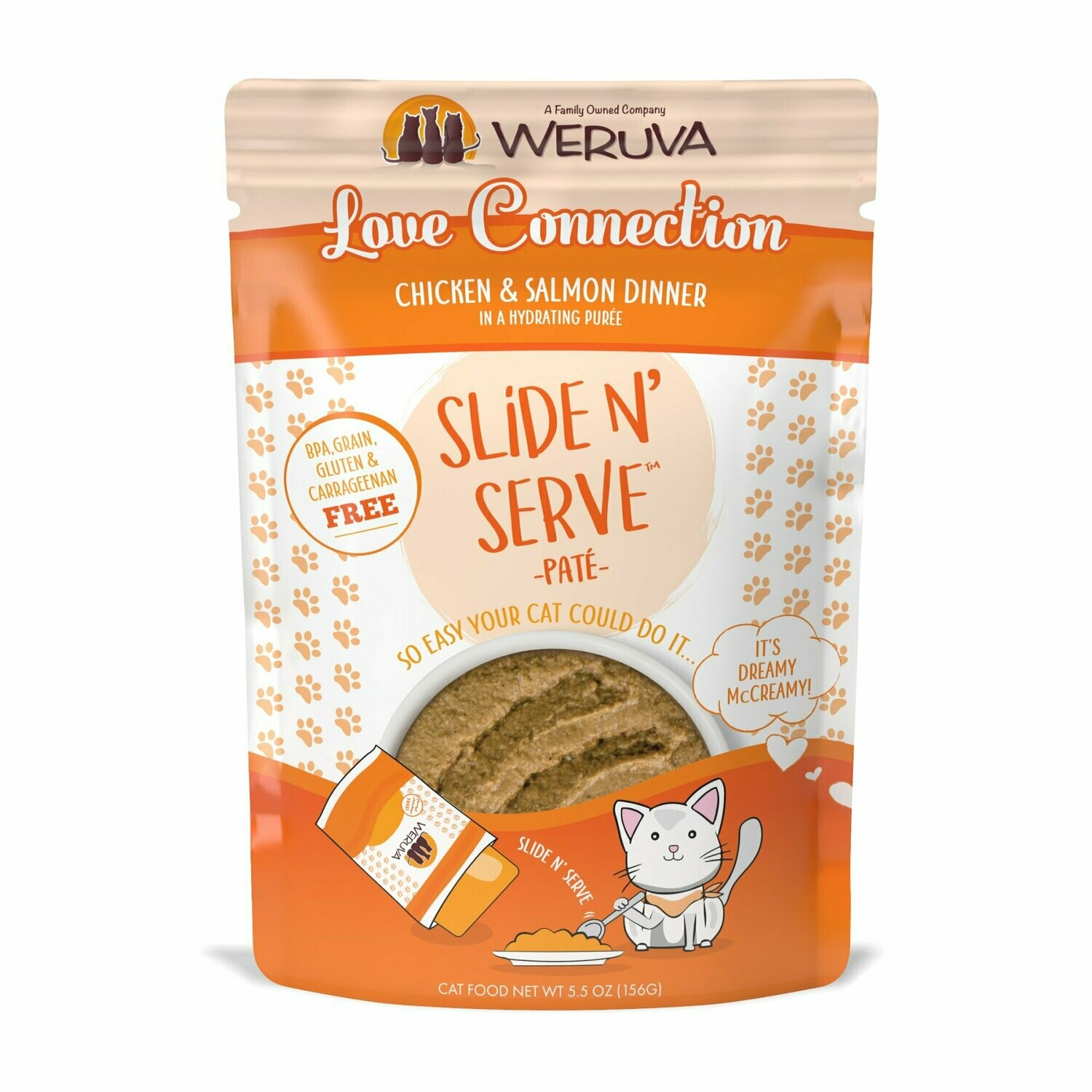 WERUVA Love Connection BPA grain gluten free - chicken and salmon dinner slide and serve pate for cats 5.5 ounce pouches 12 count (4/20)