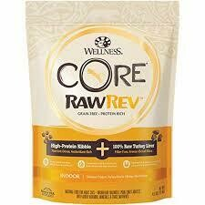 Wellness core grain free protein rich high-protein kibble hundred percent raw turkey liver indoor deboned chicken turkey mail and chicken meal recipe 4.5 pounds (2/20)