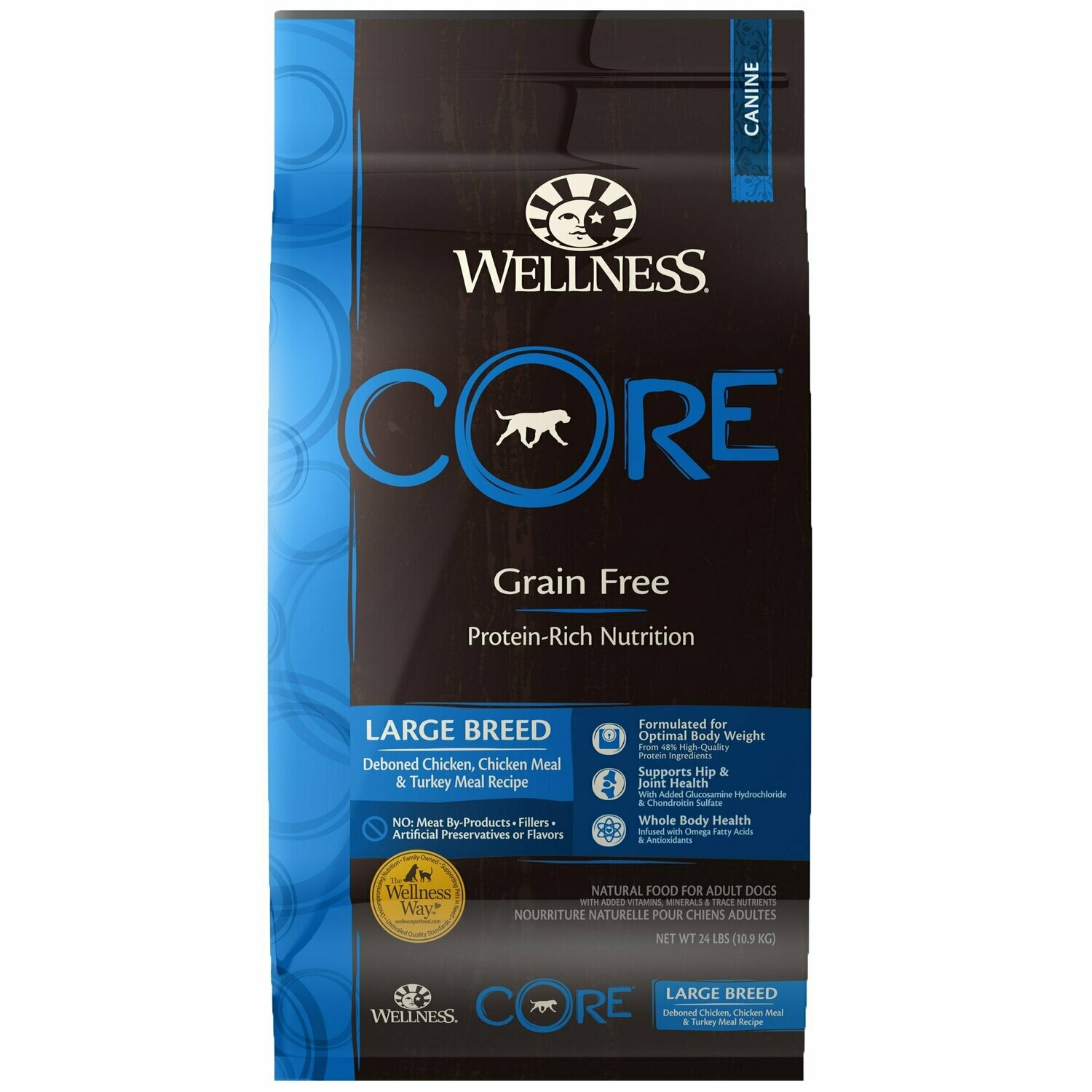 Wellness core large breed grain free protein rich nutrition de-boned chicken chicken meal and turkey mail recipe for dogs 24 lbs (5/20)