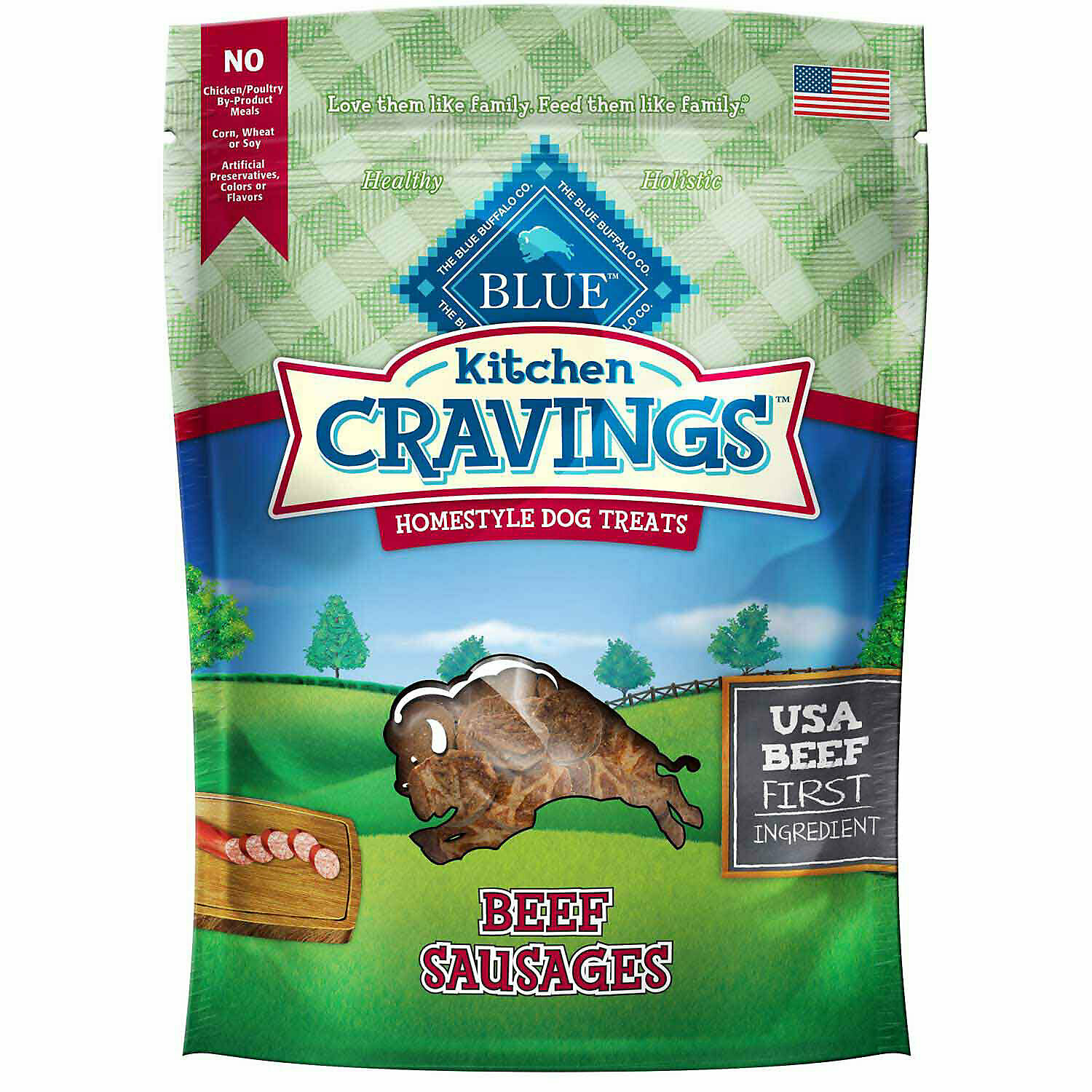 Blue Buffalo kitchen cravings homestyle dog treat beef sausages 6 ounces (5/19)