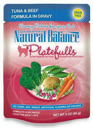 Natural balance platefulls tuna & beef formula in gravy no corn soy wheat artificial flavors or colors complete and balanced food for adult cats 3 ounce grain free 24 accounts (A. L3)