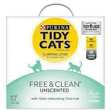 Purina tidy cats clumping litter for multiple cats free and clean unscented with odor absorbing charcoal will 40 pounds