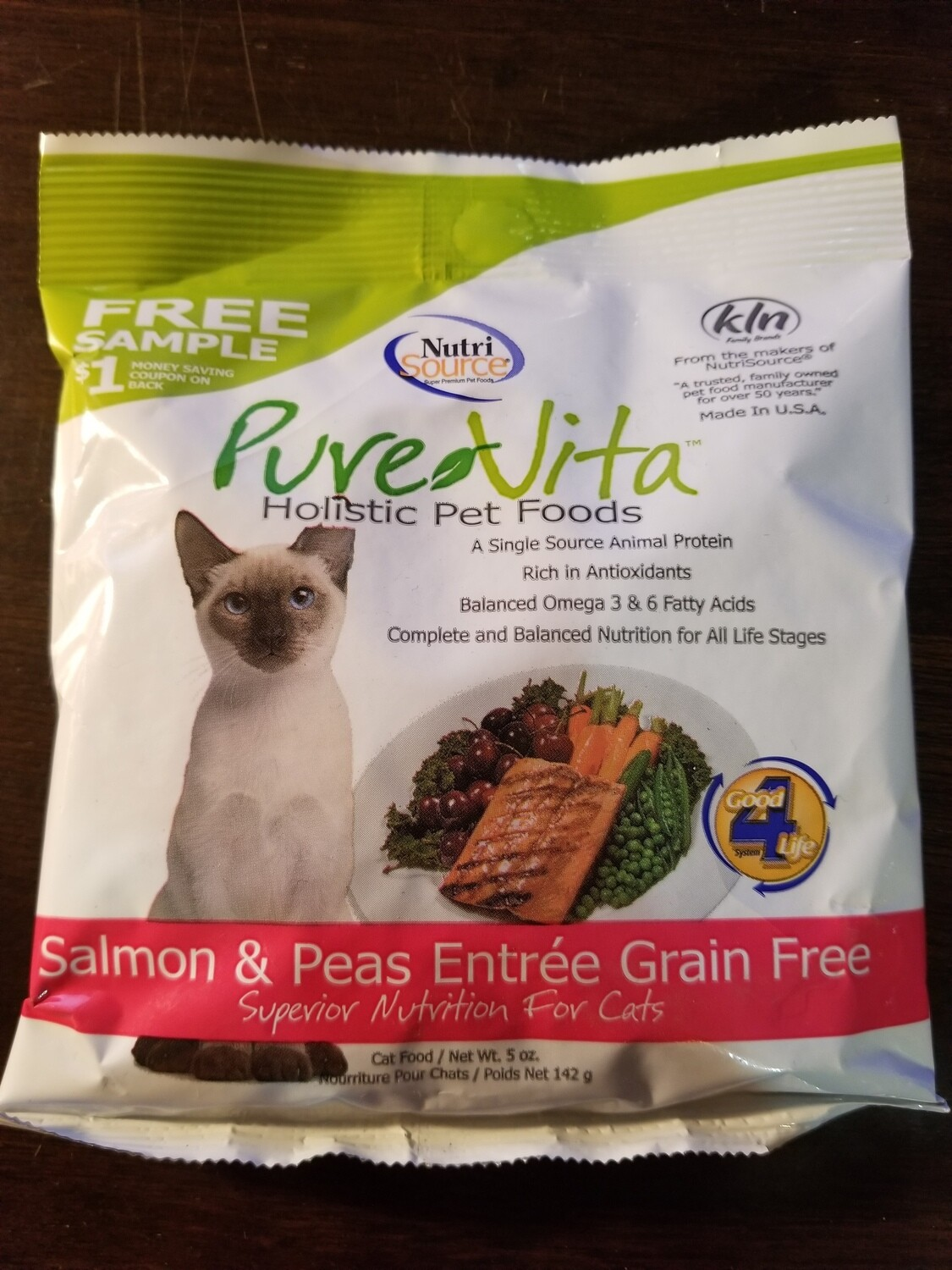 Trial size. NutrI-source Pure Vita holistic pet foods salmon and peas entrée grain-free superior nutrition for cats 5 ounces (5/19)