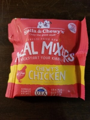 TRIAL SIZE: Stella and Sherry's freeze-dried raw meal mixers kick start your KIBBLE chewies chicken single source animal protein grain and gluten-free .25 ounces 95% chicken organs and BONES  (11/19)