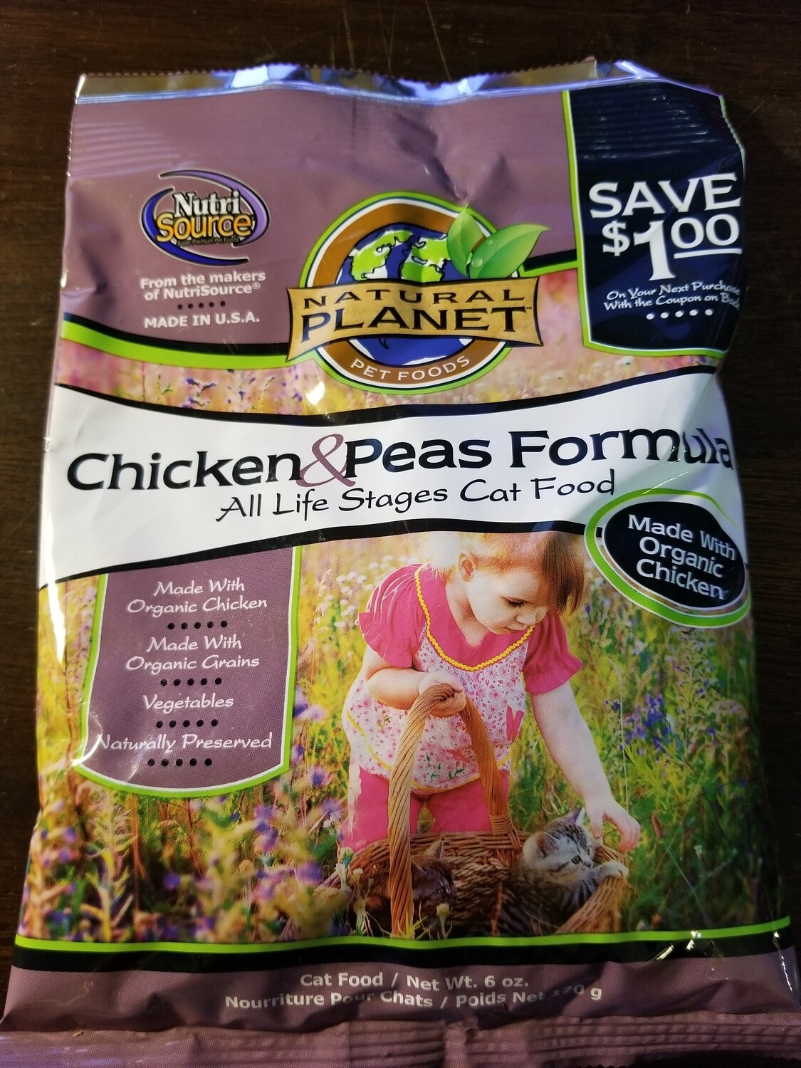Trial Size NutriSource Natural Planet Chicken & Pea Formula All Life Stages Cat Food 6 oz (5/19)