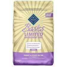 Blue Buffalo basics limited ingredient formula a simple diet for dogs with food sensitivities puppy turkey and potato recipe 4 pounds (12/19)