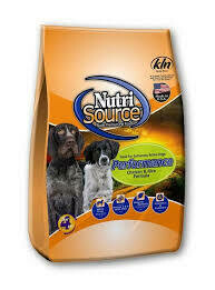 NutriSource performance chicken and rice formula for adult dogs 40 pounds (12/19)