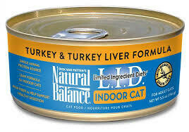 Natural balance limited ingredient diets for indoor cats turkey and turkey liver formula for adult cats 5.5 ounces 24 count (1/20)
