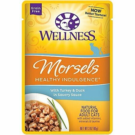 Wellness morsels healthy indulgence with turkey and duck and savory sauce natural wet food for adult cats 3 ounces 1 COUNT (7/19)