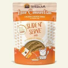 Weruva love connection chicken and salmon dinner in a hydrating puree slide and serve BPA grain gluten and carrot Gina and free pate wet cat food 5.5-ounce pouches 1 COUNT (3/20)