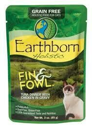 Earthborn holistics grain-free food for cats Finn and Fowl tuna dinner with chicken and gravy 3-ounce pouches 12 count (4/20)