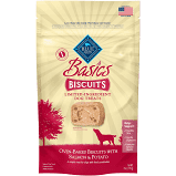 BLUE BUFFALO BASICS BISCUITS DOG TREATS-NATURAL, LIMITED INGREDIENT SIZE 6 OZ SALMON (12/19)