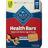 Blue Buffalo health bars baked with bacon egg and cheese 3 pound jumbo pack natural biscuits for dogs (9/19)