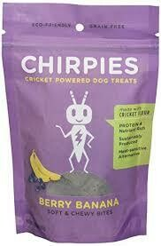 chirpies cricket powered dog treats made with cricket flower berry banana soft and chewy bites for dogs 5.29 ounces (8/19 close parentheses