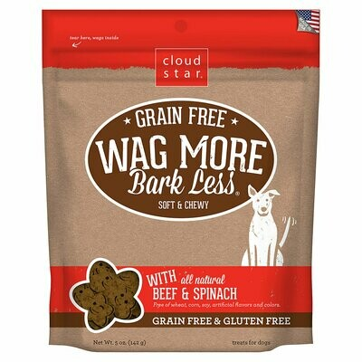 Cloud Star grain-free wag more bark less with all-natural beef and spinach gluten-free 5 ounces treats for dogs (9/19)
