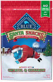 **BOGO** Blue Buffalo Santa snacks crunchy dog biscuits baked with oatmeal and cinnamon with wholesome whole grains and fruits no meat and bone meal 8 ounces