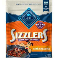 Blue Buffalo sizzlers cheddar bacon style dog treats with real pork number one ingredient supersize 15 ounces (10/19)
