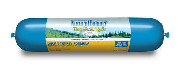 Natural balance dog food rolls duck and turkey formula grain free user meal or topper or training treats 3.5 pounds (1/20)