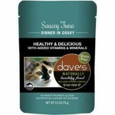 DAVES SAUCEY TUNA DINNER WET CAT FOOD POUCHES 2.8 OZ CASE OF 12 (2/20)