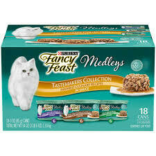 Fancy Feast Wet Cat Food Variety Pack Medleys Tastemakers Collection 3 OZ 18 COUNT (6/21)