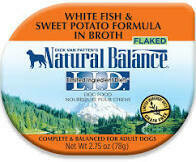 Natural Balance L.I.D. Limited Ingredient Diet Grain Free Flaked White Fish & Sweet Potato Formula in Broth Dog Food Cups 2.75 OZ 24 COUNT (10/20)