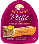 Wellness petite entrees natural meals for smaller dogs with added vitamins and minerals grain free  fillets with roasted chicken beef carrots and green beans and gravy 3 ounce 24 count (6/20)