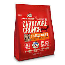 Stella and Chewy's freeze-dried raw carnivore crunch grass fed beef recipe treats for dogs grain free 98% beef organs and ground bone less than 3 cal per treat 3.25 ounces (11/19)