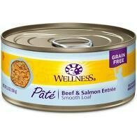 Wellness beef and salmon formula natural food for cats grain free 5.5 ounces 24 count (10/19)