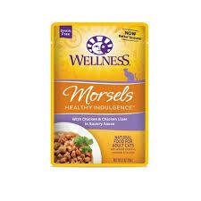 WELLNESS HEALTHY INDULGENCE NATURAL GRAIN FREE MORSELS CHICKEN/CHICKEN LIVER CAT 3 OZ 12 COUNT POUCHES (4/20)