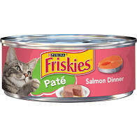 Purina Friskies pate salmon dinner wet cat food for adult cats and kittens 5.5 ounces 1 COUNT (6/21)