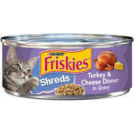 Purina Friskies shreds turkey and cheese dinner in gravy wet cat food 5.5 ounces 1 COUNT (11/21)