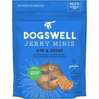 Dogs well jerky minis hip and joint with glucosamine chondrotin and and New Zealand green muscle grain free chicken free 4 ounces made in the United States (10/19)