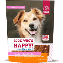Look Who's Happy! Tempt-n Tenders  Grain-Free Chicken & Carrot Dog Treats 4 oz  (2/19)