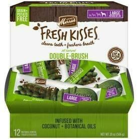 Merrick fresh kisses double brush coconut plus botanical oils 12 count 20 ounce large (8/19)