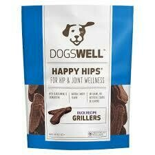 Dogswell happy hips supports hip and joint wellness with glucosamine and chondrotin grillers duck recipe 13.5 ounces premium treats for adult dogs (10/19)