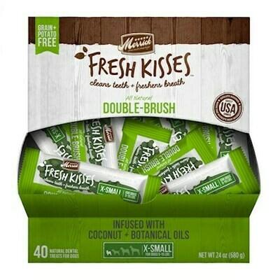 Merrick Fresh Kisses Double-Brush Coconut Oil & Botanicals Extra Small Dental Dog Treat - 40 Count #66016  (9/19)