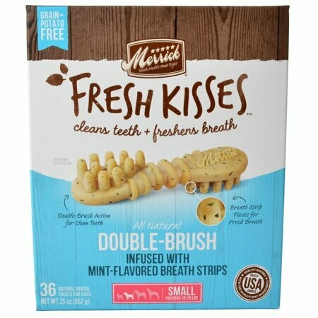 Merrick fresh kisses double brush mint flavored small 36 count 23 ounces (4/19)